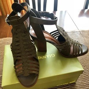 Gianni Bini olive green high heeled sandals.